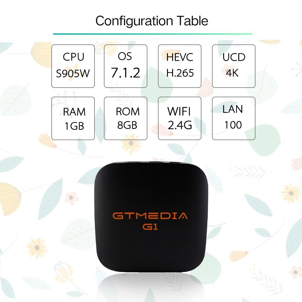 Android 7.1 TV Box GTmedia G1 Intégré WiFi 1 gb RAM 8 gb 1080 p H.265 4 k Google Lecteur magasin Netflix Youtube TV BOÎTE PK x96 TV BOX