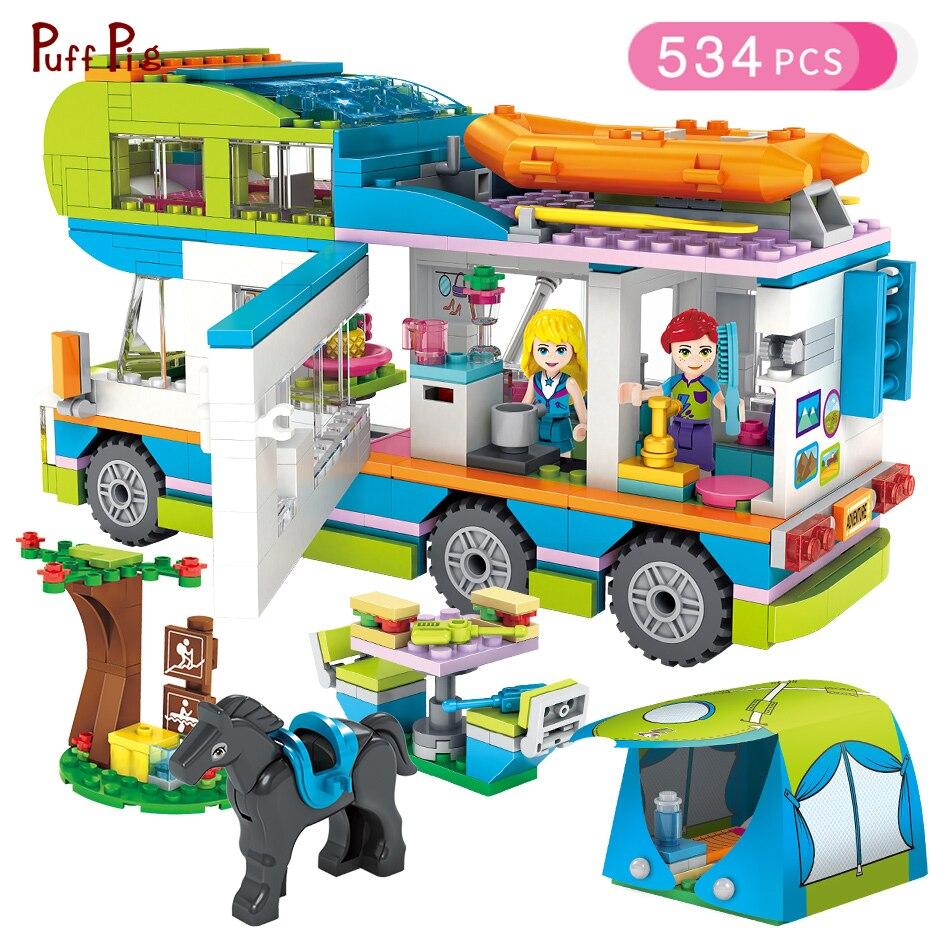 534 stücke Mädchen Serie Ausflug Camper Bus Auto Bausteine Figuren Kompatibel Legoed Freunde Bricks Geburtstag Geschenk Mädchen Spielzeug