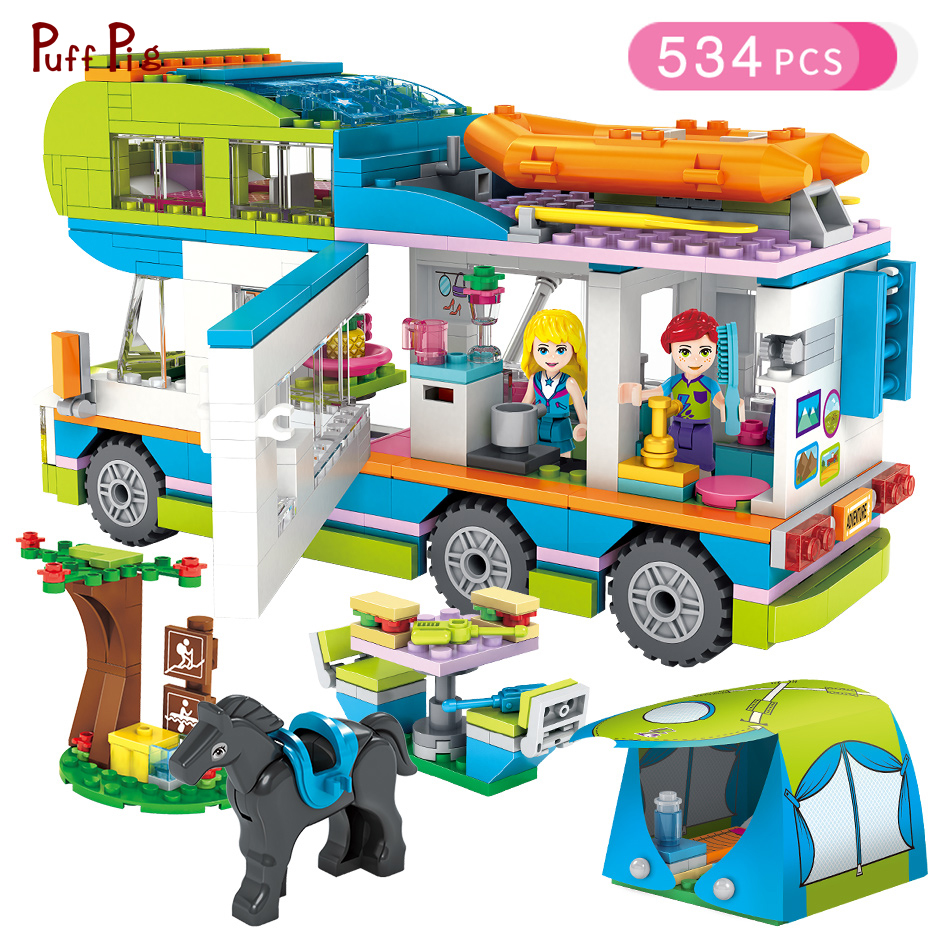 534pcs Girl Series Outing Camper Bus Car Building Blocks Figures Compatible Legoed Friends Bricks Birthday Gift