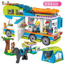 534 шт. девушка серии Outing Camper автобус автомобиля строительные Конструкторы цифры Совместимость Legoed друзья Кирпичи подарок на день рождения