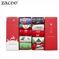 ZACOO 2017 new ladies Cute Christmas Socks Warm Cotton Winter Socks cartoon gift box Pack of 5 zk30