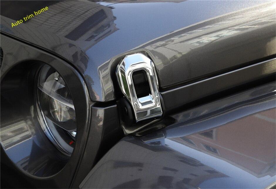 Lapetus Chrome Front Hood Engine Decoration Buckle Frame Cover Trim 2 Pcs Fit For Jeep Wrangler JL 2018 2019 2020 Accessories