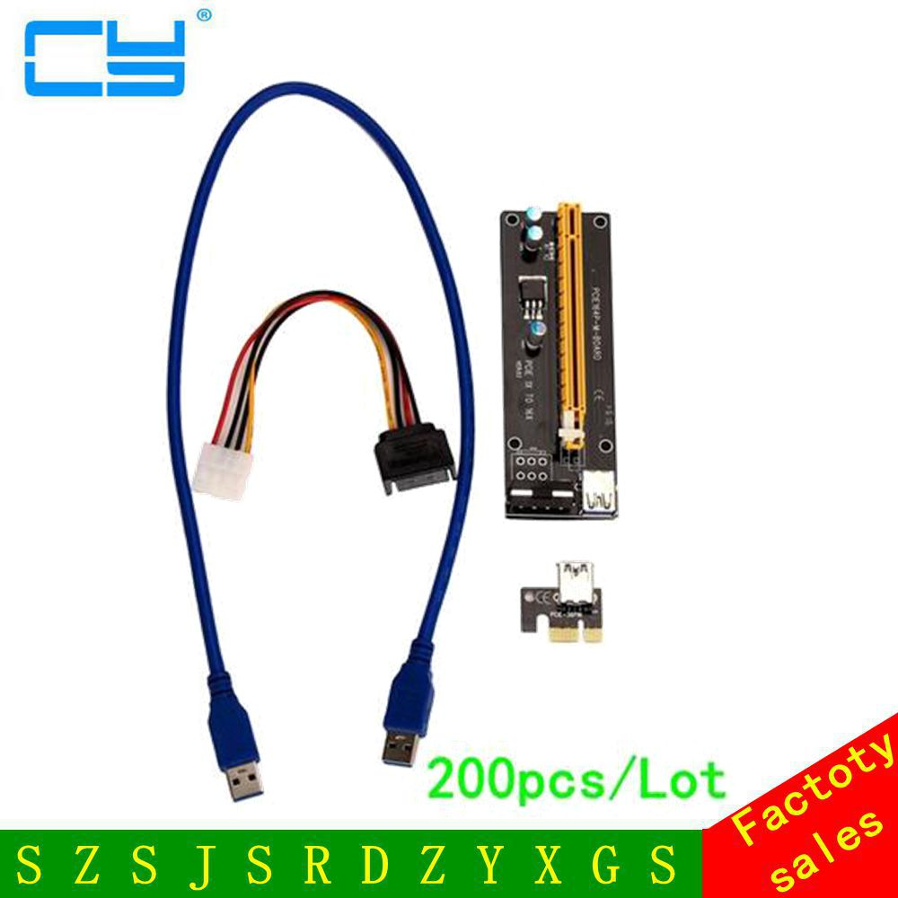 200PCS PCI-E PCI Express Riser Card 1x to 16x USB 3.0 Data Cable SATA to 4Pin IDE Molex Power Supply for BTC Miner Machine RIG