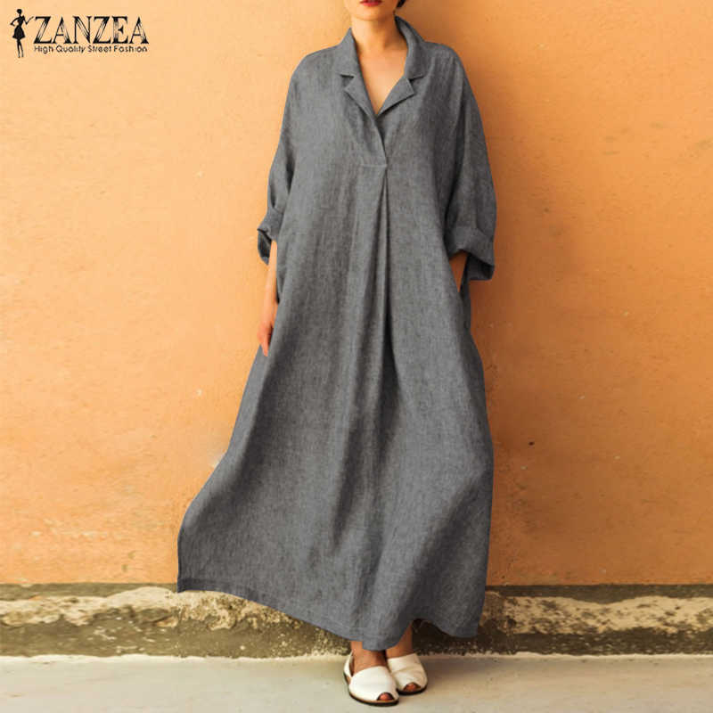 6ab22d8988a 2018 ZANZEA Women Lapel Neck Solid Loose Long Dress Autumn Casual Long  Sleeve Kaftan Vestido Femme