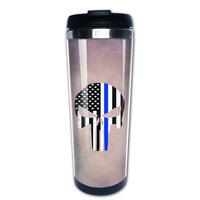 Thin Blue Line Skull Coffee Mug Picture Insert Tazas Stainless Steel Tumbler Caneca Tea Cups For