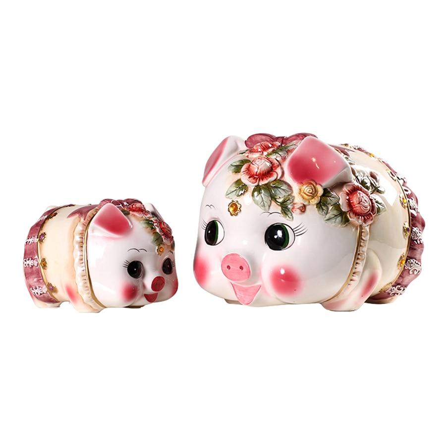 Enfants petit cochon en céramique tirelire enfants boîtes à billets pot économiser Kreativa drôle pots d'argent décorations produit WKO005