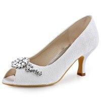 HP1539 Blanco Marfil Mujeres Zapatos Peep Toe Partido Prom Bombas Comfort Tacones Bajos Señora Del Cordón Del Satén Zapatos de Boda Rhinestone Nupcial