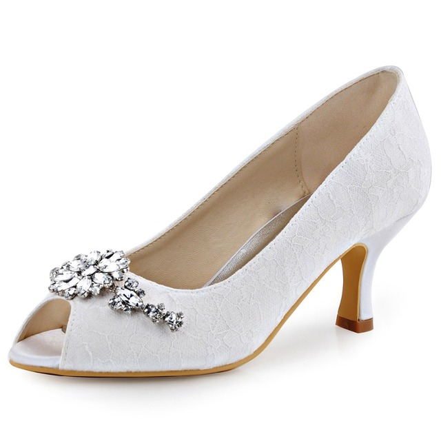 0217a699849 HP1539 White Ivory Women Shoes Peep toe Party Prom Pumps Comfort Low Heels  Lady Satin Lace Rhinestone Bridal Wedding Shoes