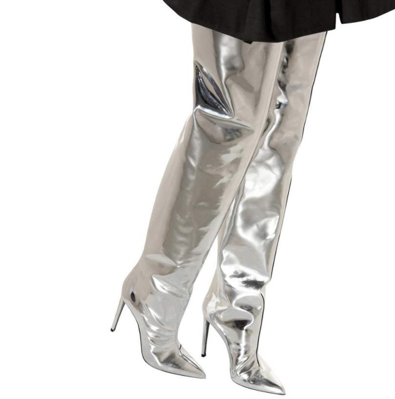 Hiver Sur Grande En Et Vernis Mode Cuir Européen Taille Haute Américain Extérieur Genou Argent Automne Bottes De Martin Commerce qS4B5Bv