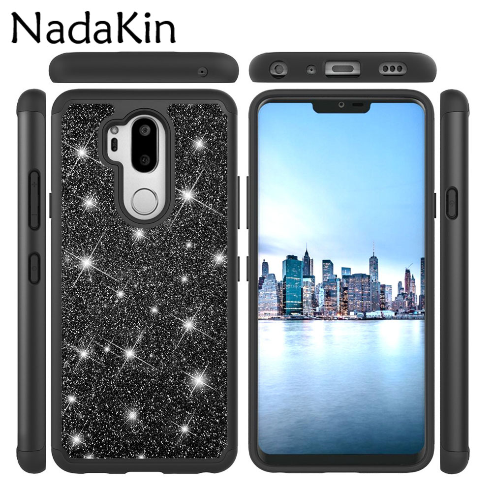 Glitter Shockproof Case for LG G7 ThinQ K10 2017 2018 K20 Plus Stylo 4 Q Stylus K30 Aristo 2 Flicker PC Silicone 2 in 1 Cover