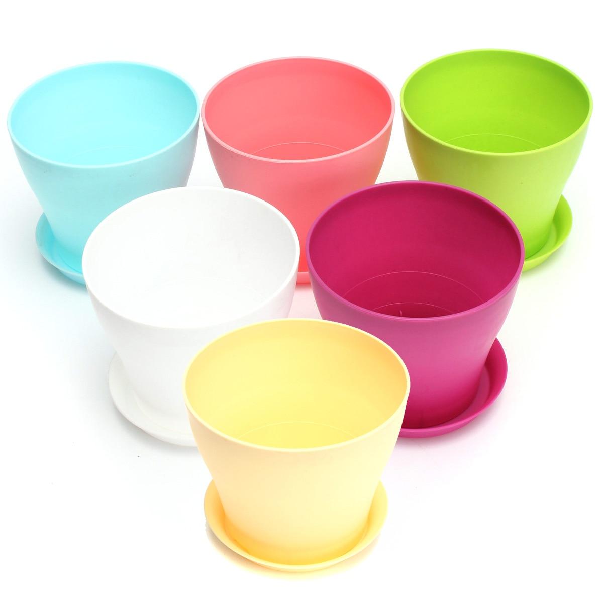 Glossy Plastic Plant Flower Pot Round Shape Candy Colors Planter