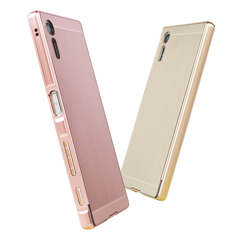 For Sony Xperia XZ Case Brushed Back Cover Hard with Plating Metal Frame for  F8332