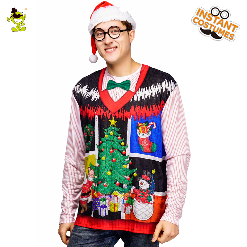 Hot Sale Christmas 3 D Printed T-shirt Costume Long Sleeve Christmas Tees Masquerade Santa Claus Printing T-shirts For Male