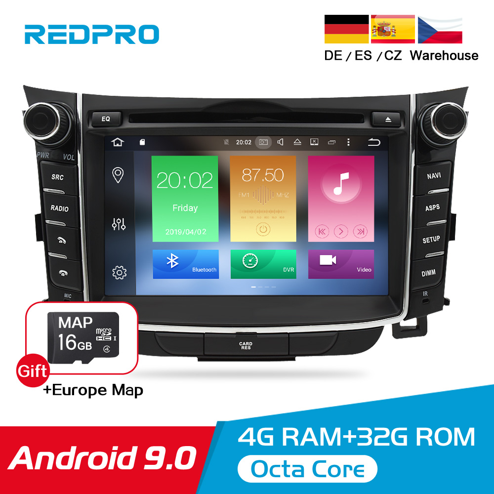 Android 9.0 8.0 IPS Car DVD Radio Player For Hyundai i30 Elantra GT 2012-2016 Auto Audio Video GPS Navigation Stereo Multimedia image
