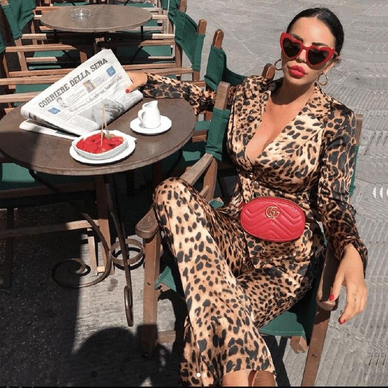 New Style Fashion Leopard Two 2 Pieces Set   Jumpsuit   Women Suit High Quality Women Cocktail Party Suits Club Vestidos Wholesale