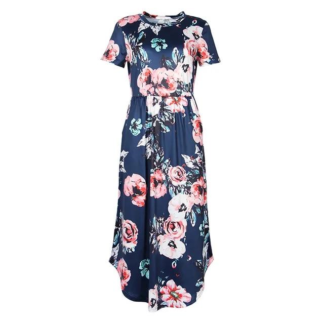 Bohemia Women Pleated Mid-Calf Dress Summer Female Short Sleeve Elegant Boho Floral Printed Dresses GV879