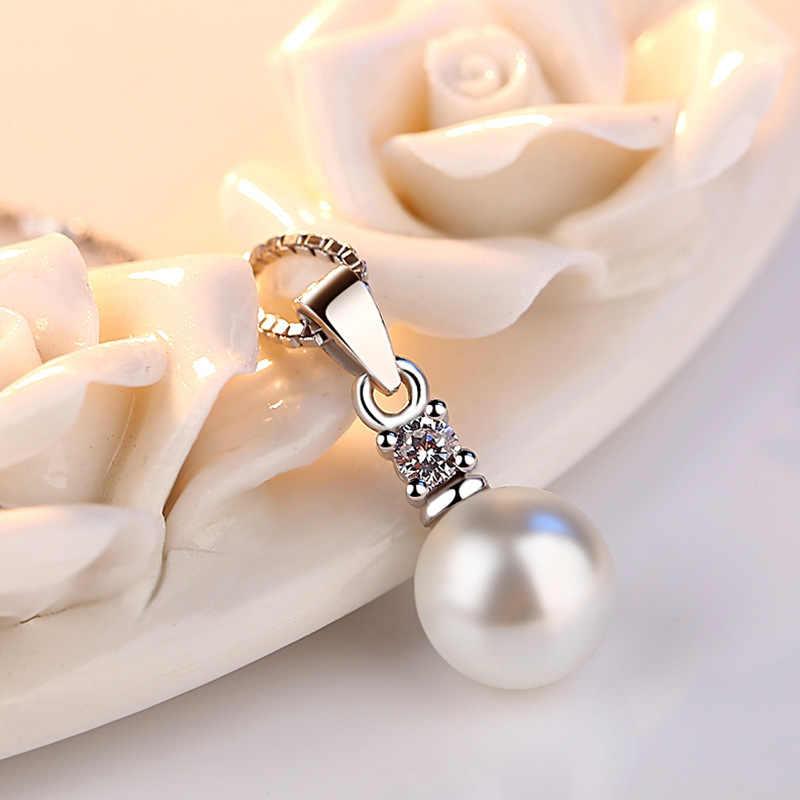 925 Sterling Silver Kalung Pengeboran Zircon Mutiara Tidak Ada Rantai Kalung & Liontin untuk Wanita Fine Perhiasan Collares VNS8021