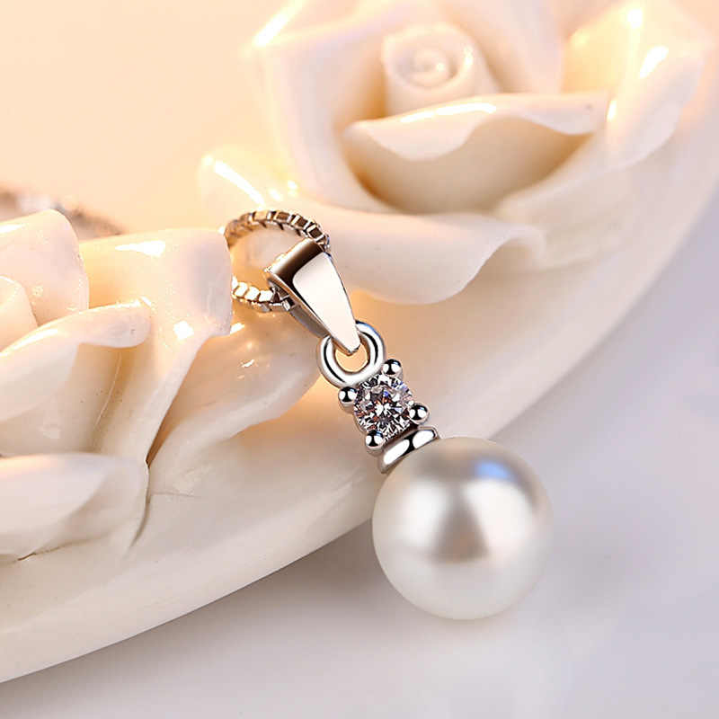 925 Sterling Silver Necklace Drilling Of Zircon Pearls No Chain Necklaces & Pendants For Women Fine Jewelry Collares  VNS8021