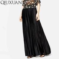 QIUXUAN Sweet Candy Colors Women Ankel Length Skirts Spring Summer Elastic Waist Pleated Skirt High Waist