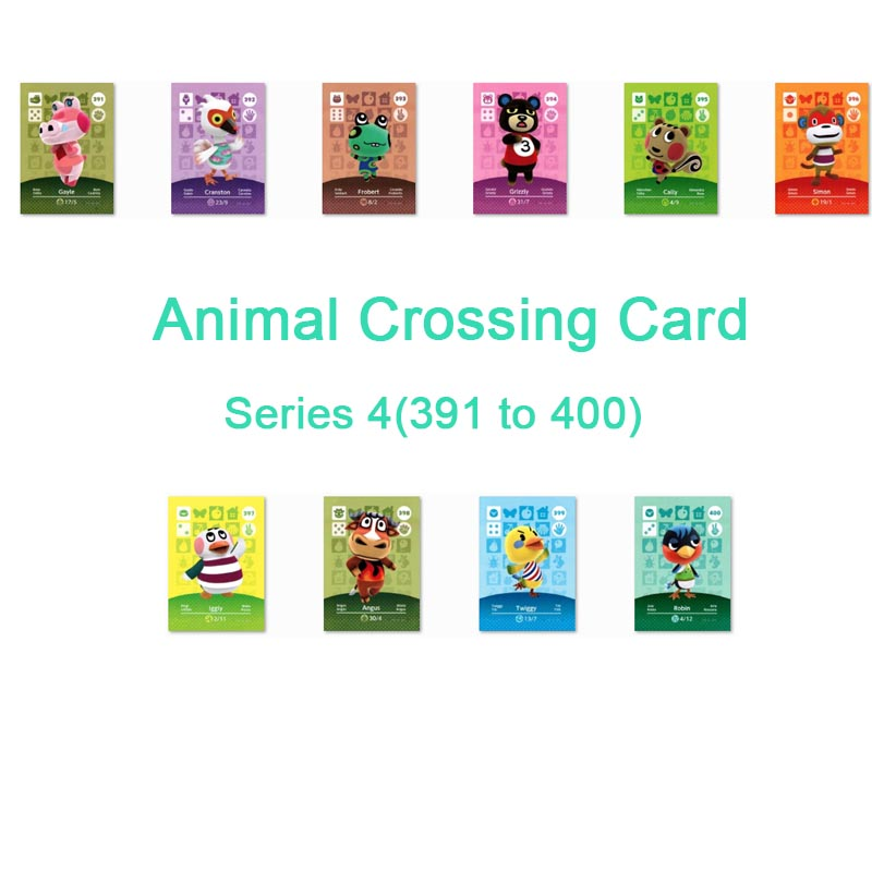 <font><b>Animal</b></font> <font><b>Crossing</b></font> <font><b>Card</b></font> <font><b>Amiibo</b></font> <font><b>Card</b></font> Work for NS Games Series 4 (391 to 400) image