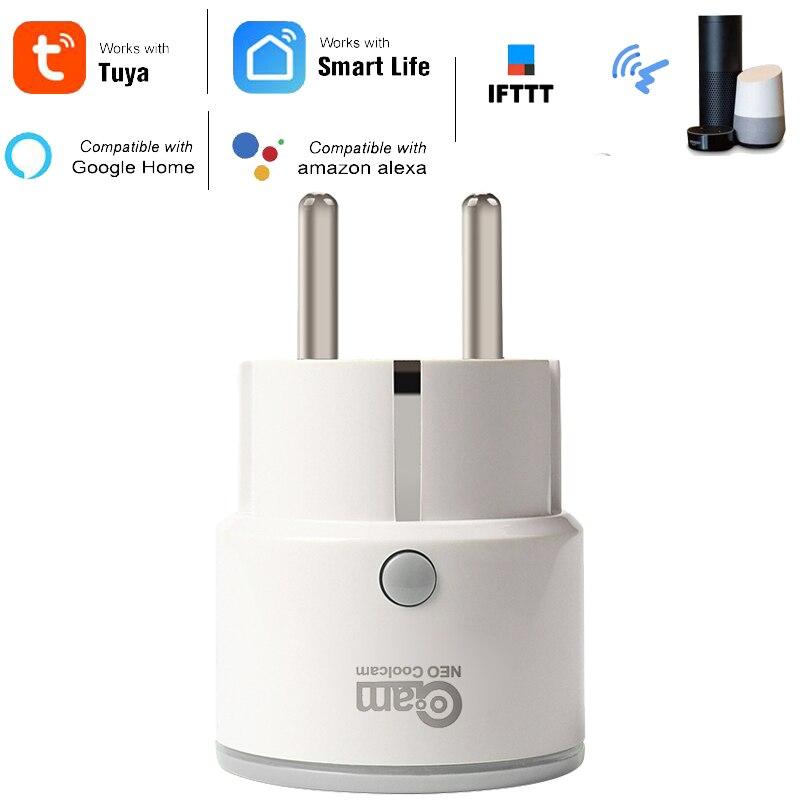 Coolcam חכם תקע האיחוד האירופי תמיכה אמזון Alexa Google בית, IFTTT שלט רחוק WiFi מתג מיני שקע לשקע עם פונקצית תזמון