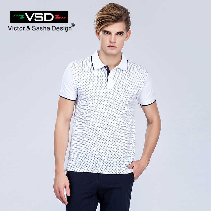 Vsd 2017 magro polka cachorro polo camisas de manga curta homens contraste cor marca roupas negócios & casual impresso polo masculino 3xl branco