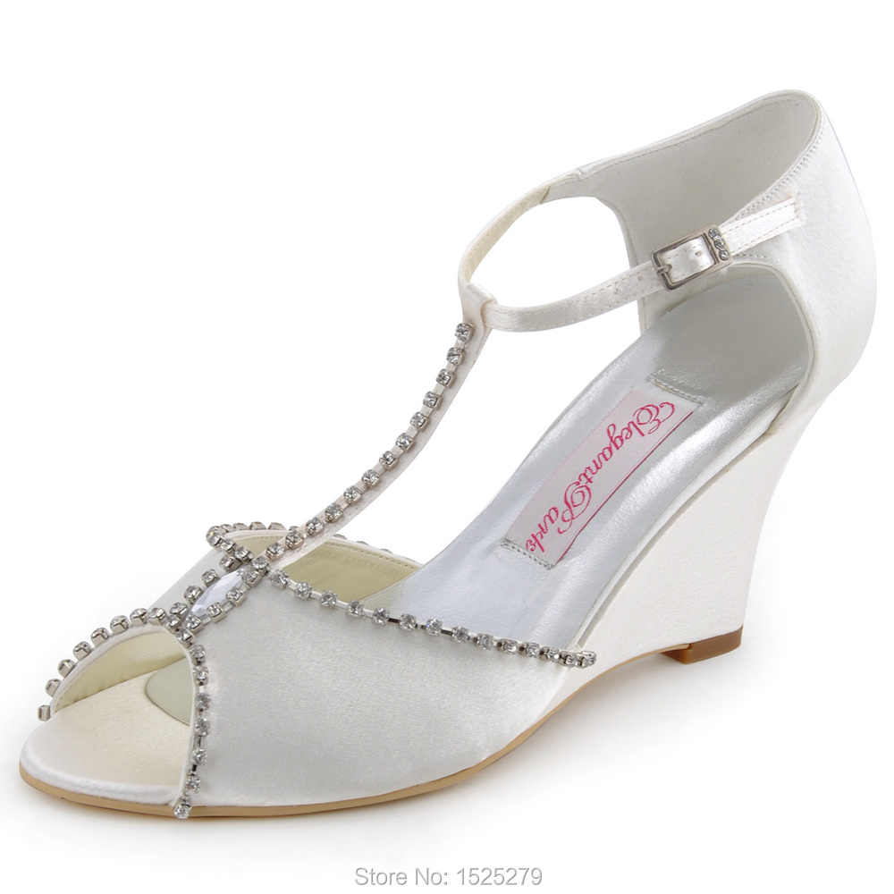 c5fa69fded MC-032 White Ivory Women Shoes Bride Bridal Wedding Wedge High Heels T  strap Crystal Satin Lady Bridesmaid Prom Party Pumps