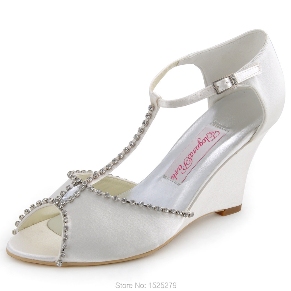 MC-032 White Ivory Women Shoes Bride Bridal Wedding Wedge High Heels T strap Crystal Satin Lady Bridesmaid Prom Party Pumps