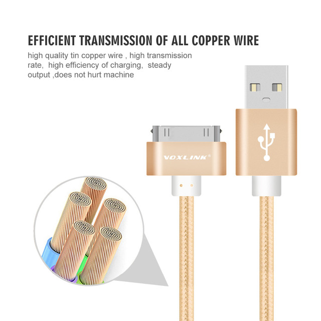 VOXLINK 1m 2m 3m Nylon Braided Wire Line 30 pin Metal plug Sync Data USB Charger Cable For iphone 4 4S 3GS iPad 1 2 3