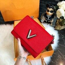 Роскошные известный дизайнер логотип бренда Для женщин кожа Сумки высокое качество из натуральной кожи, с цепочкой плеча Курьерские сумки LOIS
