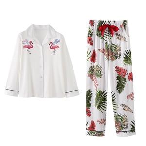 Image 2 - BZEL 여성 잠옷 세트 코튼 긴 소매 피자 마 Mujer 플라밍고 인쇄 Loungewear 도매 캐주얼 잠옷 Femme 빅 사이즈 M 3XL