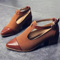 Free Shipping  Woman shoes  spring and autumn2017 New Vintage buckle with flat pointed black wind Institute