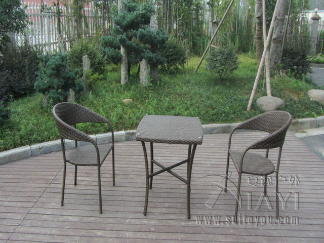 3 pcs European Style Rattan Garden Dining Sets For Bistro / Balcony transport by sea