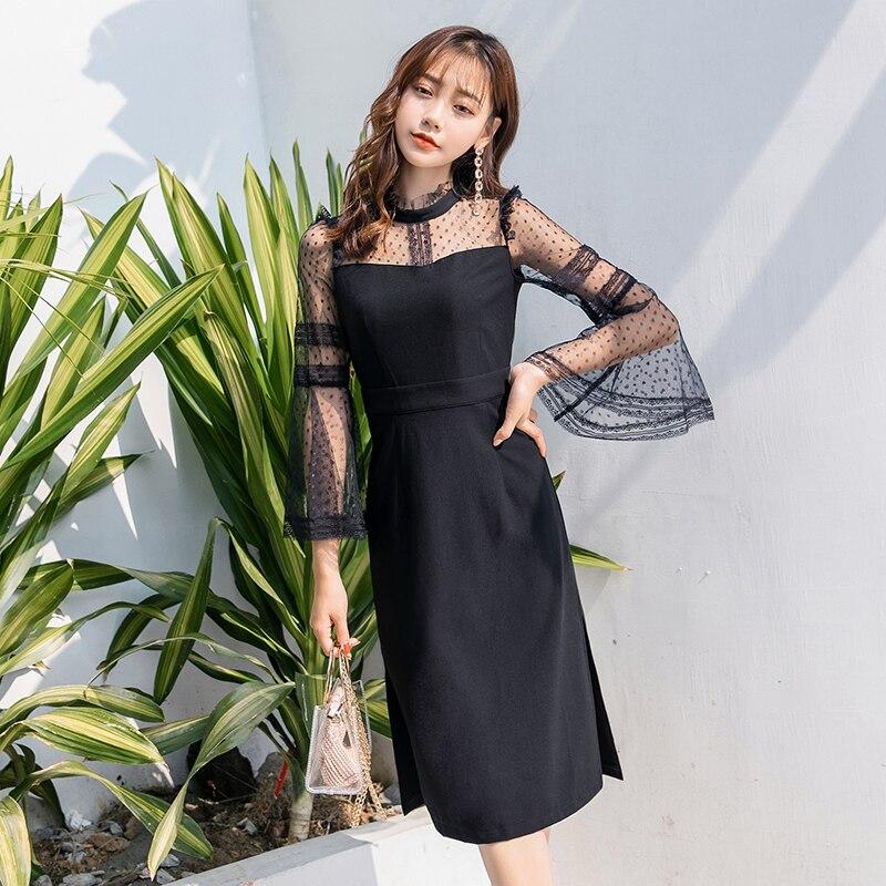 Women beautiful long dress Split end flare sleeve elegant black party dress plus size mesh patchwork
