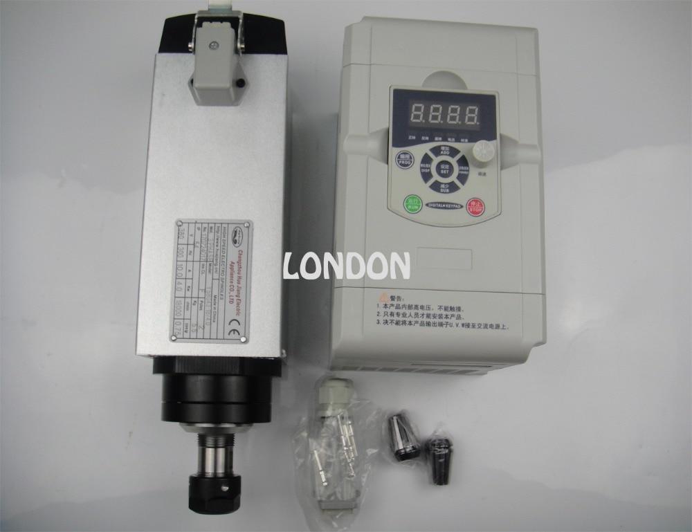 Husillo de enfriamiento de aire cuadrado ER20 AC220V de 4KW con inversor VFD compatible de 4KW