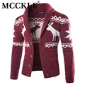 New Fashion Christmas Mens Full Sleeve Sweater Deer Pattern Cable Knit Crew Neck Sweater For Christmas Men Cardigan Q1623