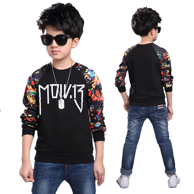 Print T-shirts for Boys O-neck Tops Infant Cotton T-shirts Teenager Long Sleeve Clothing Kid Casual T shirt Children Spring Tees