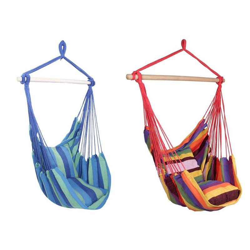 Nouveau hamac suspendu chaise de corde balançoire chaise siège avec 2 oreillers pour jardin utilisation Portable-tout lieu salon Design spécification