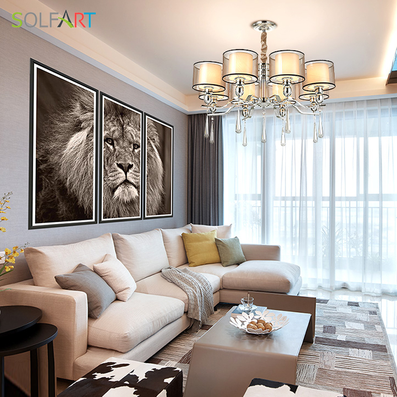 SOLFART Chandeliers Glass Crystals Light For Dining Room Crystal Pendants Modern Smoky Crystal Chandelier