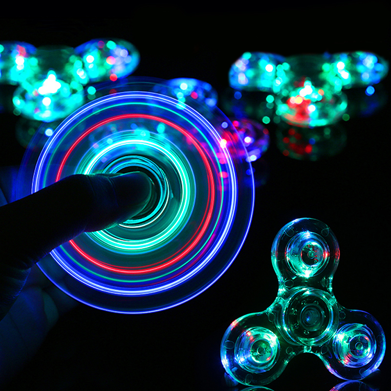 Crystal LED Light Fidget Spinner Finger EDC Hand Spinner Tri For Kids Autism ADHD Anxiety Stress