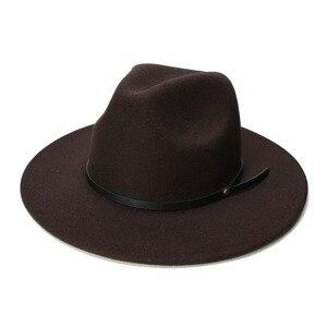 Image 1 - LUCKYLIANJI الرجعية طفل الطفل خمر 100% الصوف قبعة بحافة واسعة فيدورا بنما الجاز القبعة المستديرة حلقة من جلد أسود (54 سنتيمتر/تعديل)
