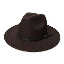 LUCKYLIANJI Retro Kid dziecko Vintage 100% wełna czapka z szerokim rondem Fedora Panama Jazz melonik czarny skórzany pasek (54cm/regulowany)