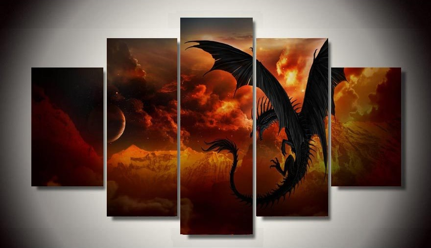 5 panel HD poster Fire Dragon Canvas Print Painting Home ...