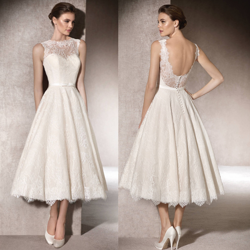 Elegant Off White Y Short 2017 Lace Bridal Gown Backless Outdoor Wedding Gowns Country Rustic