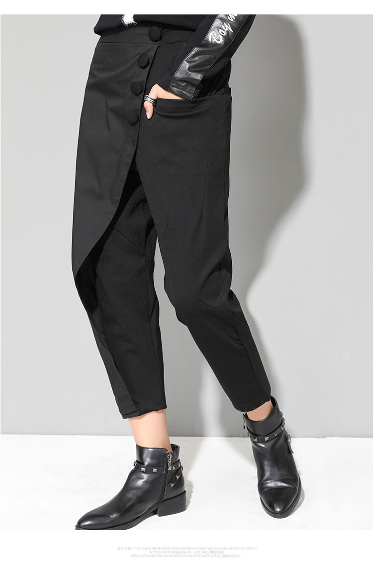 XITAO Black Tide Long Harem Pants Women Elastic Waist Button Fly Casual Modis Front Patchwork Female Trouser 2019 Autumn LJT3926 17