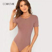 bf19d3a3ea COLROVIE Solid Purple Form Fitting Sexy Skinny Bodysuit 2018 Autumn Pink  Mid Waist Short Sleeve Elegant Women Bodysuits