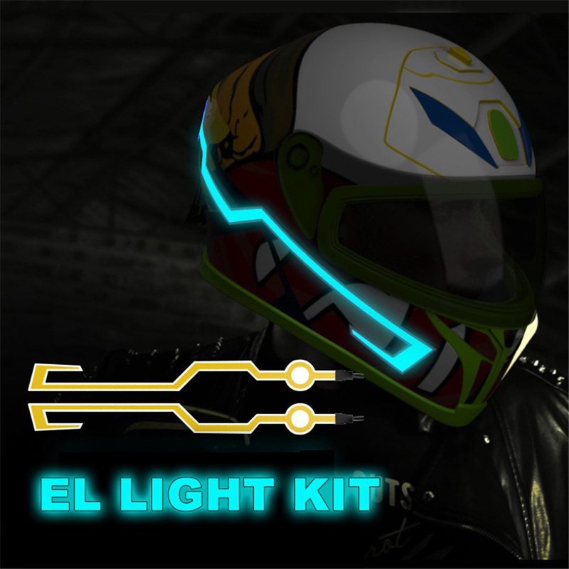 2019 New Motorcycle Helmet Light LED DIY Black Helmet LED Light Motorbike Safety Reflective Strip Modification