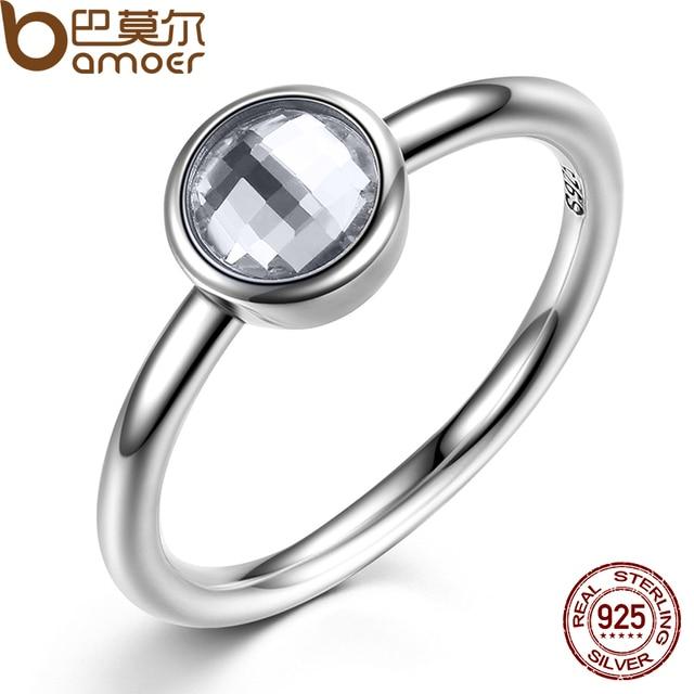 bamoer elegant glass 925 sterling silver rings poetic droplet clear