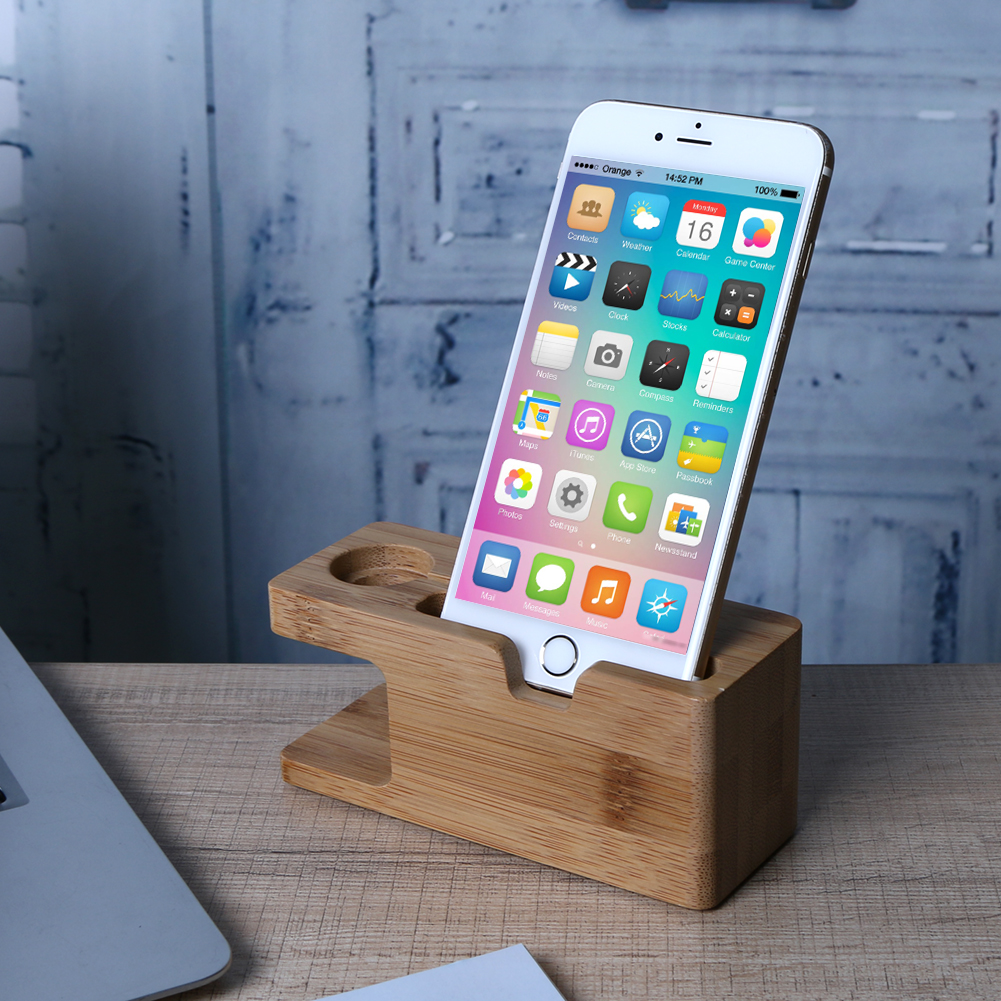 Alloet Wooden Charging Dock Station for Mobile <font><b>Phone</b></font> Holder <font><b>Stand</b></font> Bamboo Charger <font><b>Stand</b></font> Base For Apple Watch and For iphone