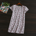 2017 Summer Brand Homewear Women Casual Cotton nightgown Cat print nightdress Female Short sleeve O-neck collar sleepwear dress
